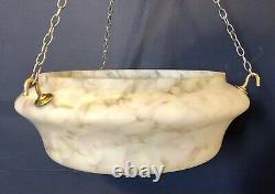 Rare Art Deco 1930s marbled effect glass pendant ceiling light shade flycatcher