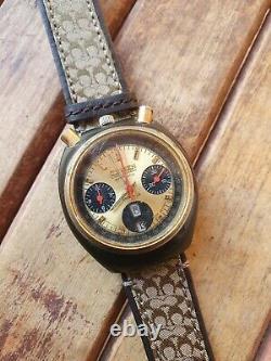 Rare Citizen Panda Bullhead 8110 Chronograph Watch Day Date Automatic Mens 1970s