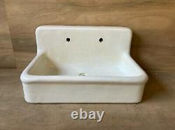 Rare Early Antique 36 High Back Heavy Earthenware Kitchen Sink Old Vtg 662-20E