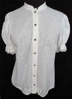 Rare French 1930's-1940's Wwii Era White Ethnic Style Cotton Blouse Size 36
