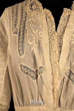 Rare Size 12 Edwardian Silk Embroidered Linen Dress