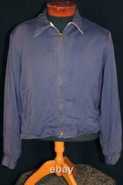 Rare Vintage 1950's Blue & White Print Reversible Gabardine Jacket Size Medium