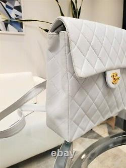 Rare Vintage Chanel CC Quilted White Lambskin Leather Classic Flap Backpack