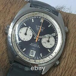 Rare Vintage Heuer Carrera Ref 1153 Automatic Chronograph Cal 11 Dark Blue