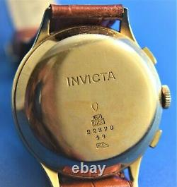 Rare Vintage Invicta Chronograph 18K Gold VALJOUX 22 CALIBER MOVEMENT