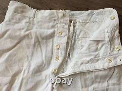 Rare Vintage Men's 1930s 40s Button Fly Cotton White Twill Pants Gusset 34 x 29