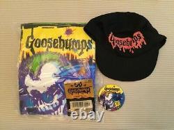 Rare Vintage New 1995 Goosebumps Hallmark Promo Shirt (XL) Cap Button