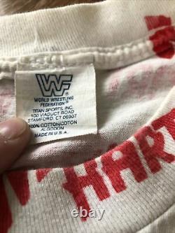 Rare Vintage OG 1993 WWF Bret Hitman Hart ALL OVER PRINT Wrestling Shirt Wcw Ecw