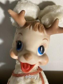 Rare Vintage Rushton Rudolph Reindeer White Plush Deer Original Christmas