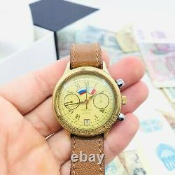 Rare Vintage Soviet Chronograph Watch POLJOT 3133 USSR Shturmanskiye ROME