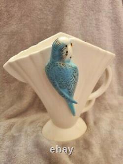 Rare antique Art Deco Sylvac jug vase Budgie 544 1920s 1930s vintage blue, white