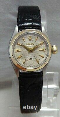 Rolex Oyster Perpetual 14k/ss Ladies Watch Rare Scalloped Bezel Orig Dial 1954