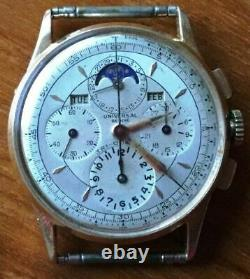 VINTAGE UNIVERSAL GENEVE TRI-COMPAX MOONPHASE CHRONOGRAPH 18K GOLD WATCH rare