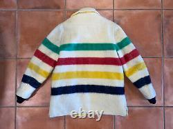 VTG 70s Rare Hudson Bay Blanket Reversible Coat Jacket Lined Hooded Sz XL