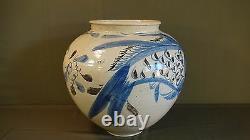 Very Fine Rare Large Korean Late Joseon Dynasty Blue, Iron & White Fish & Flower