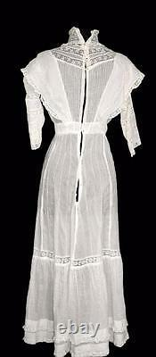 Very Rare Antique Edwardian High Neck Cotton Embroidered And Lace Dress Size 4