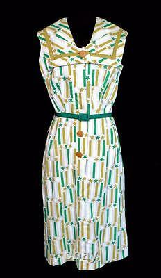Very Rare Vintage Deadstock 1950's White Cotton Print Summer Dress Size 8-10