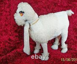 Vintage 1950's Rare Walborg Belgium Beaded Animal White Poodle Figural Purse