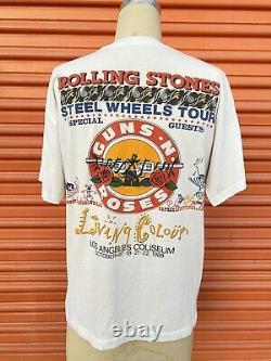 Vintage 1989 Rolling Stones rare LA Coliseum Guns N Roses Tshirt
