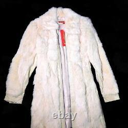 Vintage 1990s 90s Y2K Mall Goth Grunge White Jennyfer J Fur Coat Rare