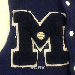 Vintage 50s 60s High School Letterman M Wool Varsity Jacket Blue White Rare 40