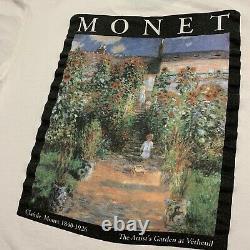 Vintage 90s Claude Monet Artists Garden Art Shirt White Rare Museum Promo Sz XL