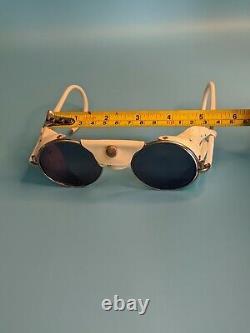Vintage Cebe Raymond White Glacier Aviator Sunglasses France Very Rare #522
