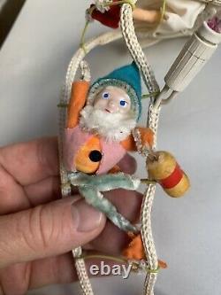 Vtg Snow White Seven Dwarfs Rope Ladder Elf Christmas Lights Decoration Rare