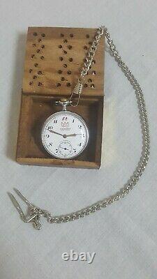Vtg rare Nomolas Cortebert Rolex pocket watch incabolic cal 616 chain+Wood box